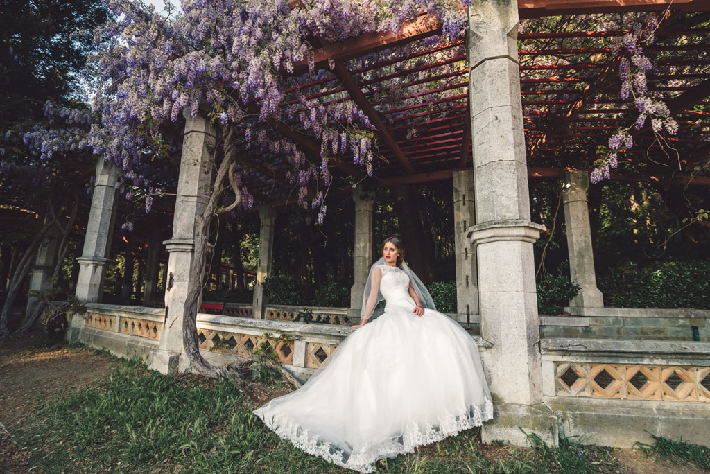 Bride in Miramare Castle in Trieste
